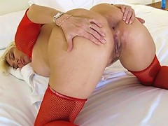 Blonde housewife playing with herself