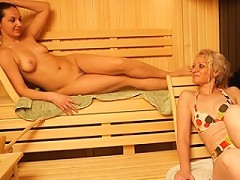 Naked mature women relaxing in the sauna