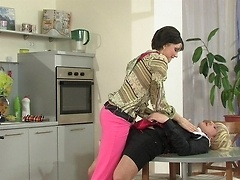 Uniformed sissy forced into ass-to-mouth