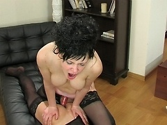 Lusty sissy goes for ultimate ass stretching