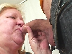 Dirty granny chick gobbles cock and her pussy is taken hard by her son in law before orgasm