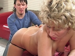 Horny mature challenged by a boy