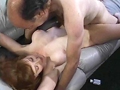 An amateur housewife rides on top of dick